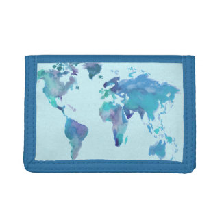 Watercolor Blue World Map Trifold Wallet