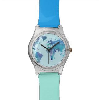 Watercolor Blue World Map Watch