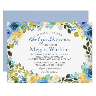 Watercolor Blue Yellow Flowers Baby Shower Card