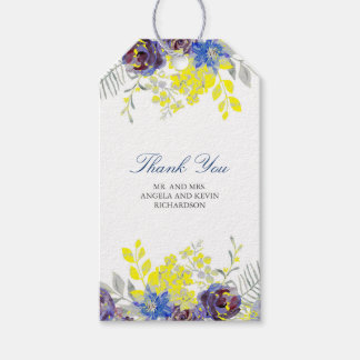 Watercolor Blue Yellow Flowers Gift Tags