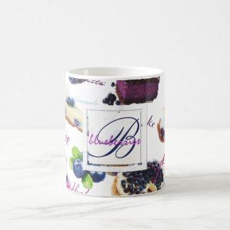 Watercolor Blueberries and Sweets Monogram Coffee Mug