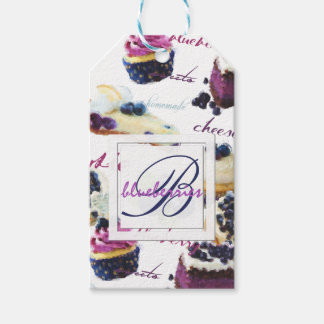 Watercolor Blueberries and Sweets Monogram Gift Tags