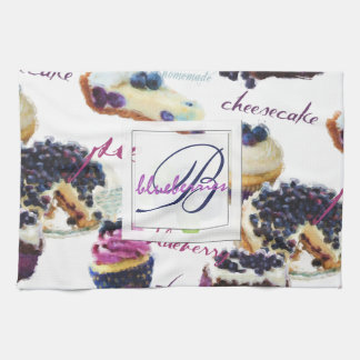 Watercolor Blueberries and Sweets Monogram Kitchen Towel