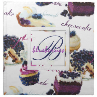 Watercolor Blueberries and Sweets Monogram Napkin