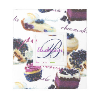 Watercolor Blueberries and Sweets Monogram Notepad