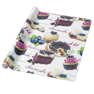 Watercolor Blueberries and Sweets Wrapping Paper