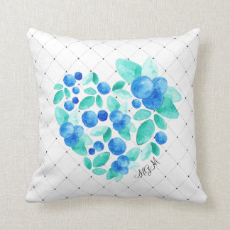 Watercolor BlueBerries Heart Abstract Monogram Throw Pillow
