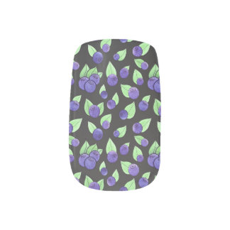 Watercolor Blueberry Nail Art