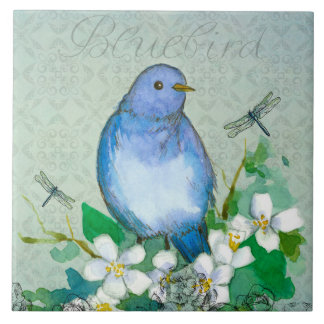 Watercolor Bluebird Dragonflies Syringa Tile