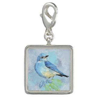 Watercolor Bluebird Oregon Grape Garden Bird Charm