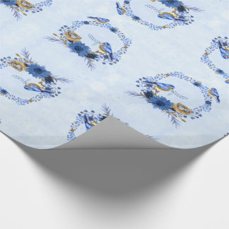 Watercolor Bluebirds with Floral Wreath and Nest Wrapping Paper
