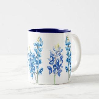 Watercolor Bluebonnet Flowers Two-Tone Coffee Mug