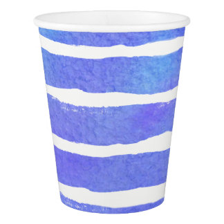 Watercolor Blues & Purples  Striped Paper Cup