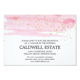 Watercolor Blush and Gold Wedding Reception Insert Card