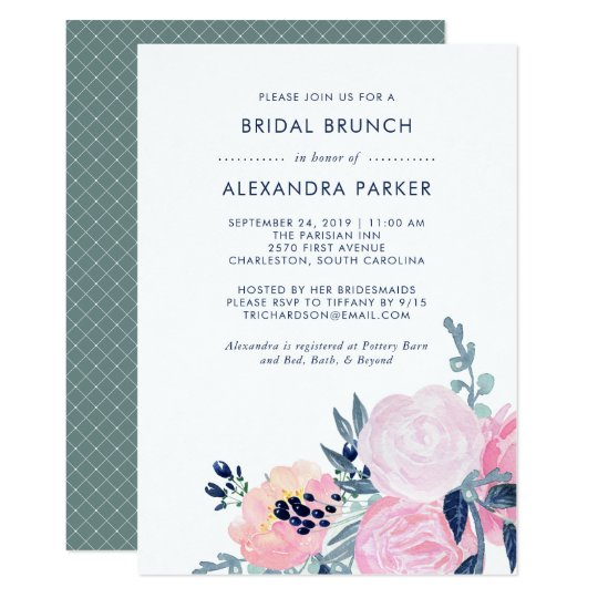 Watercolor Blush and Navy Floral Bridal Brunch Card