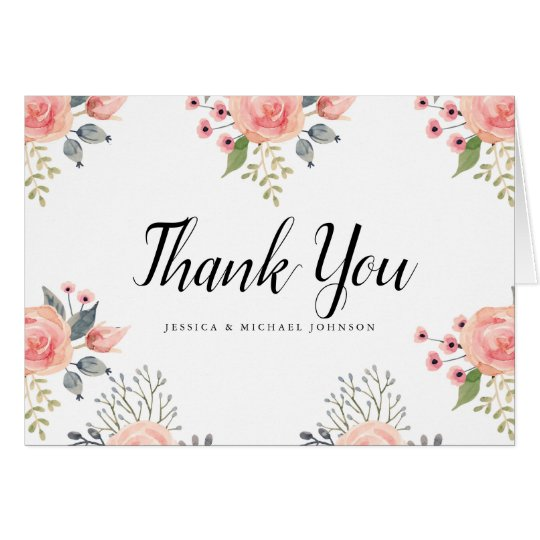 Watercolor Blush Flowers Thank You Cards