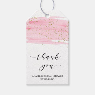 Watercolor Blush & Gold Bridal Shower Thank You Pack Of Gift Tags
