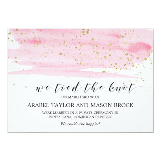 Watercolor Blush & Gold Elopement Announcement
