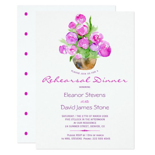 Watercolor blush hot pink rustic rehearsal dinner card