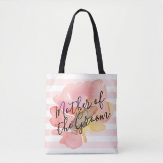 Watercolor Blush Peach Floral Mother of Groom Tote Bag