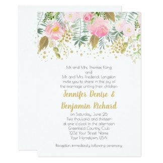 Watercolor Blush Pink Gold Greenery Roses Wedding Card