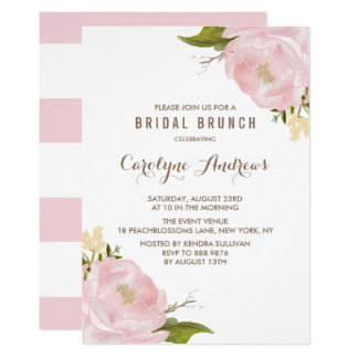 "Watercolor Blush Pink Peonies Bridal Brunch 5"" X 7"" Invitation Card"