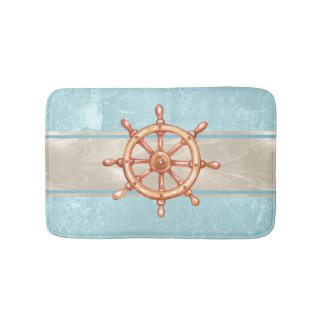 Watercolor Boat Helm Wheel ID385 Bath Mat