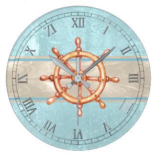 Watercolor Boat Helm Wheel ID385 Large Clock