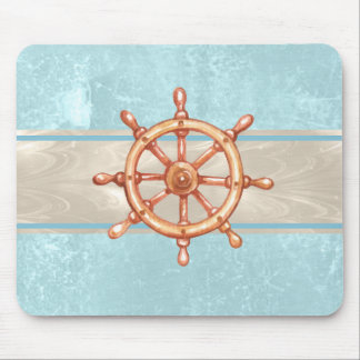 Watercolor Boat Helm Wheel ID385 Mouse Pad