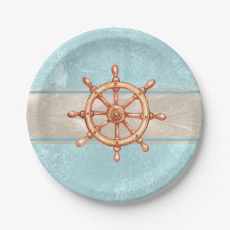 Watercolor Boat Helm Wheel ID385 Paper Plate