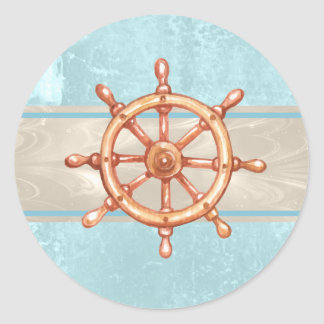 Watercolor Boat Helm Wheel ID385 Round Sticker
