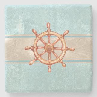 Watercolor Boat Helm Wheel ID385 Stone Coaster