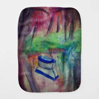 Watercolor Boat Landscape Burp Cloth