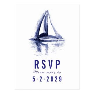 Watercolor Boat Navy Blue Response RSVP Postcard