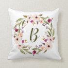 Watercolor Bohemian Floral Wreath Monogram Pillow