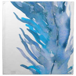 Watercolor Boho Blue Feather Napkin