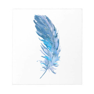 Watercolor Boho Blue Feather Notepad