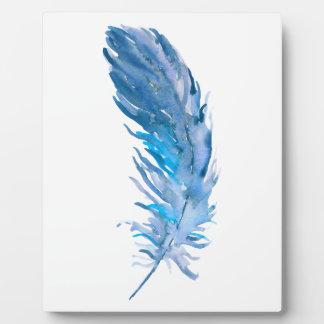 Watercolor Boho Blue Feather Plaque