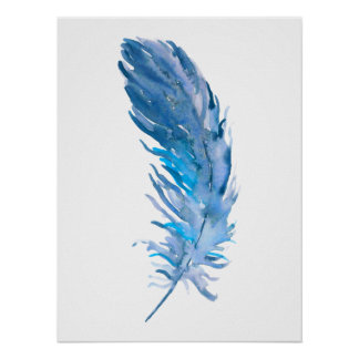 Watercolor Boho Blue Feather Print