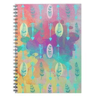 Watercolor Boho Chic Arrows Notebook