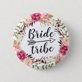 Watercolor Boho Feather Floral Wreath Bride Tribe 2 Inch Round Button