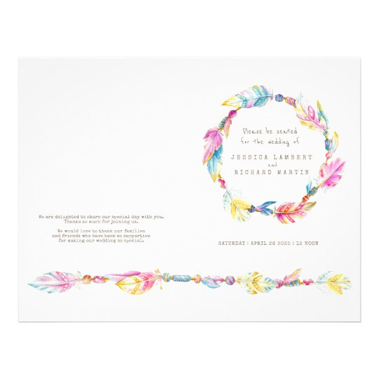 Watercolor boho feather wreath wedding programme custom flyer