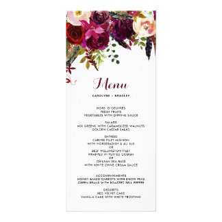 Watercolor Boho Floral Autumn Menu Card