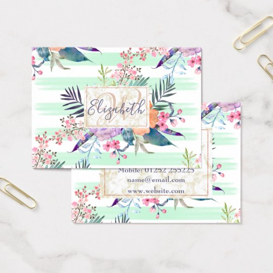 Watercolor Boho floral, leaves, stripes hand paint Business Card