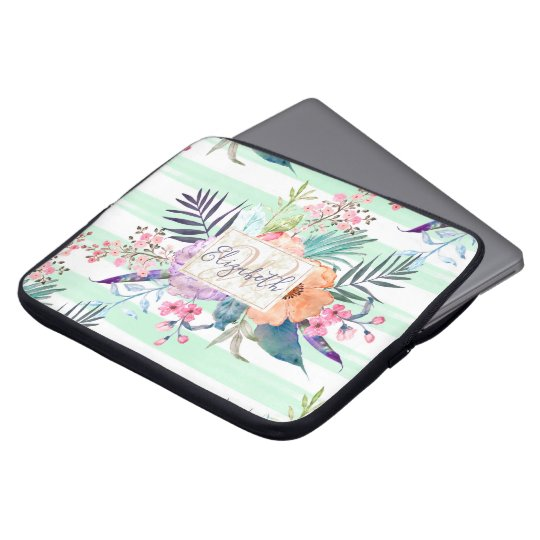 Watercolor Boho floral, leaves, stripes hand paint Laptop Sleeve