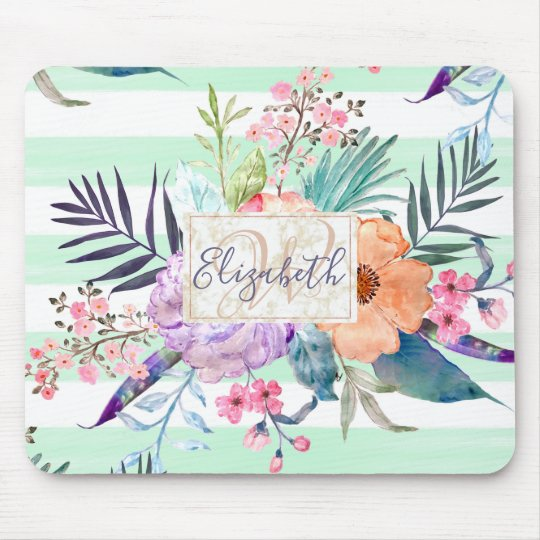Watercolor Boho floral, leaves, stripes hand paint Mouse Pad
