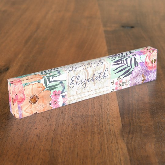Watercolor Boho floral, leaves, stripes hand paint Name Plate