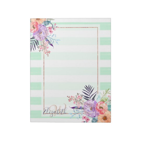 Watercolor Boho floral, leaves, stripes hand paint Notepad