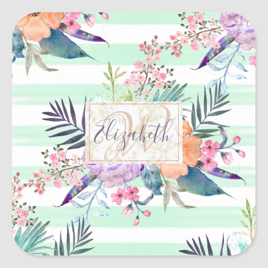 Watercolor Boho floral, leaves, stripes hand paint Square Sticker