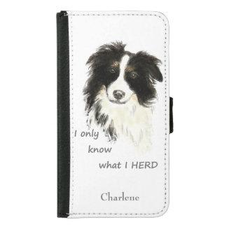 Watercolor Border Collie Dog Humor Herding Quote Samsung Galaxy S5 Wallet Case